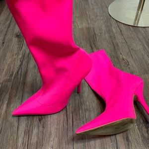 Neon pink boots